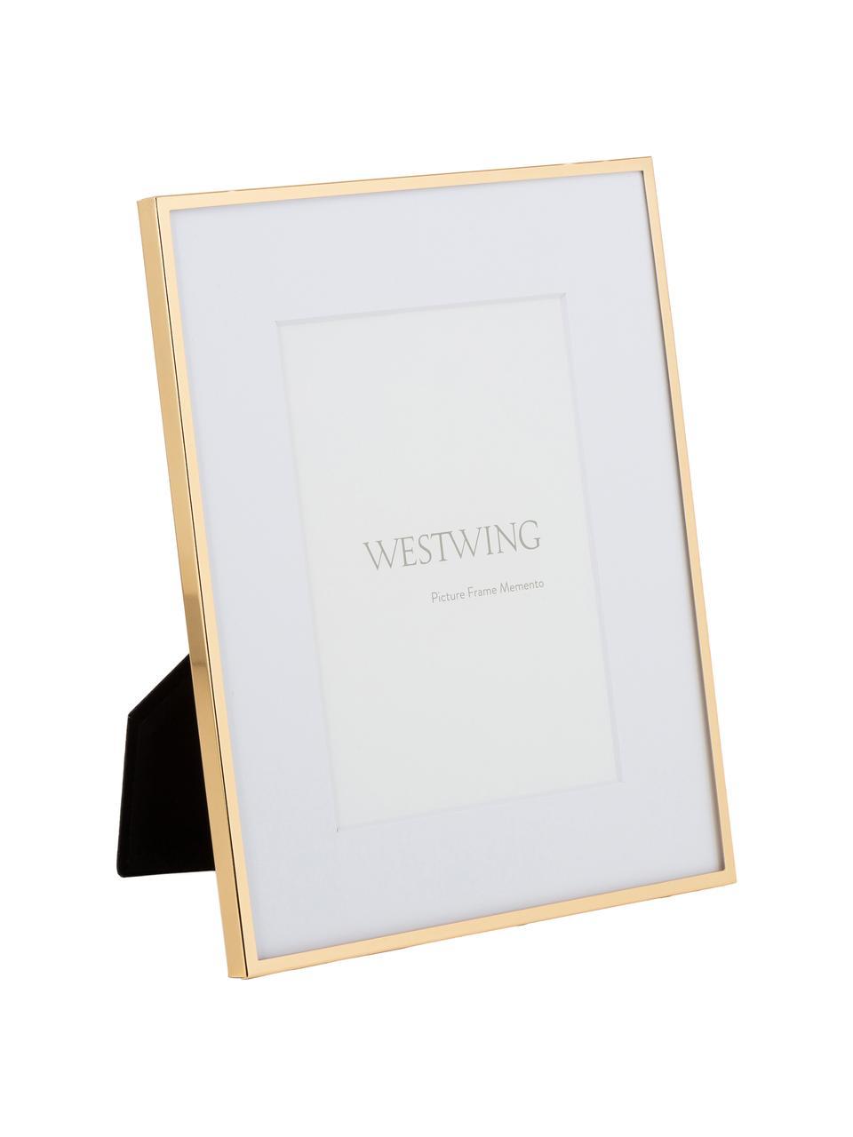 Cornice da tavolo dorata Memento, Cornice: ferro, lucido verniciato, Retro: pannello di fibra a media, Dorato, Larg. 20 x Alt. 24 cm