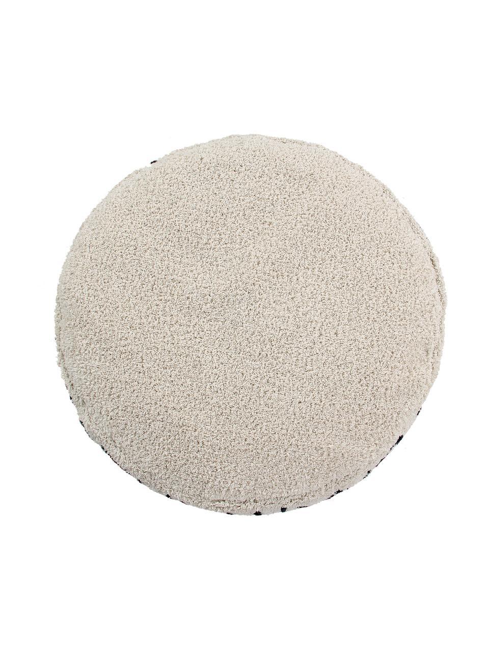 Rundes Teddy Bodenkissen ABC, Bezug: 97% Baumwolle, 3% recycel, Beige, Schwarz, Ø 70 x H 20 cm