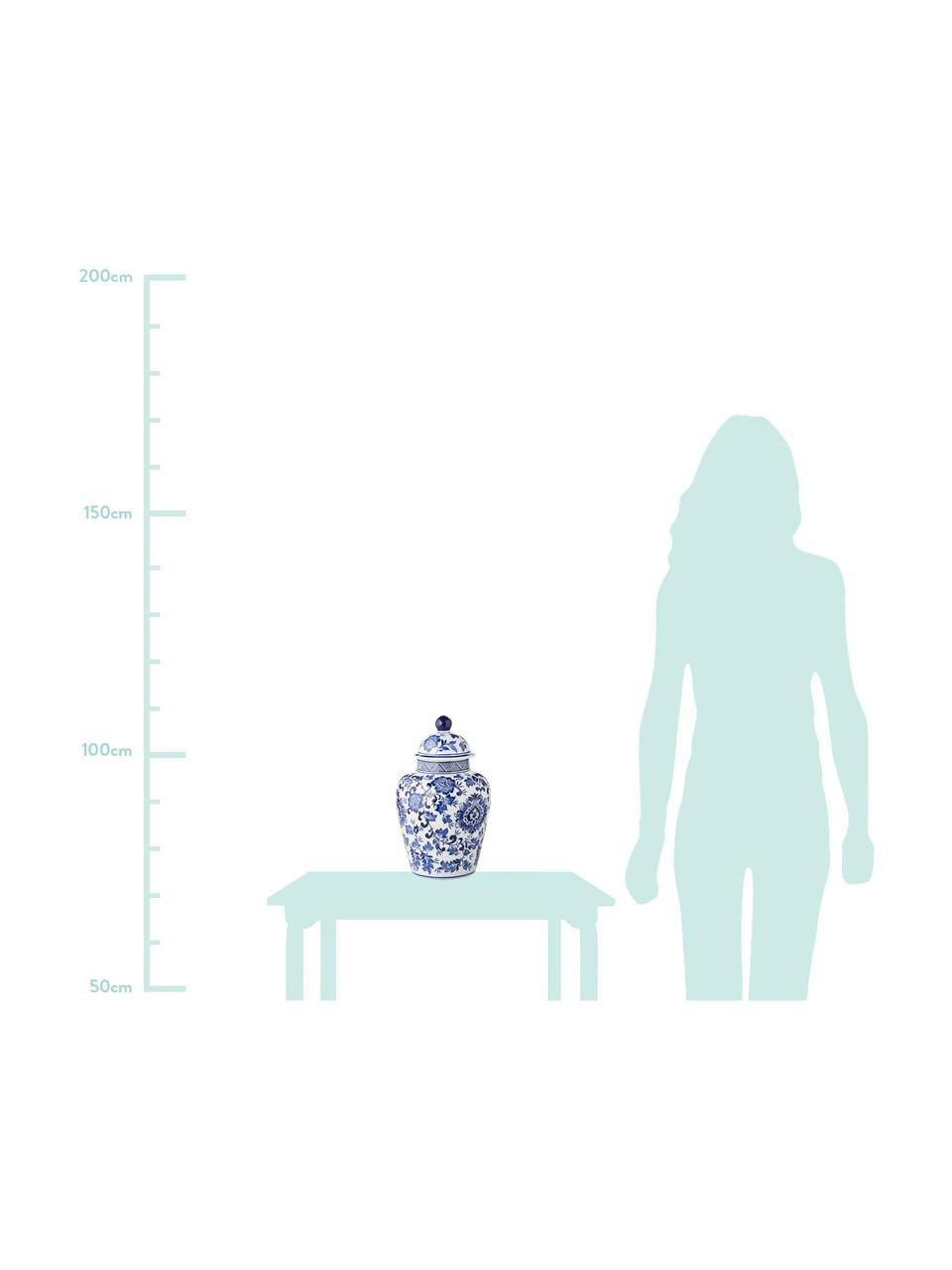 Vaso con coperchio in porcellana Annabelle, Porcellana, Blu, bianco, Ø 20 x Alt. 35 cm