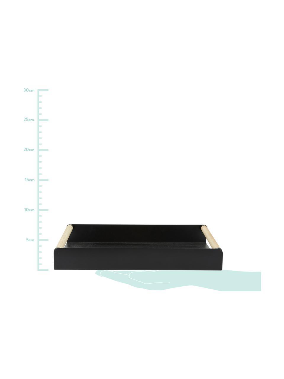 Plateau en métal noir avec poignées en bois de pin Chelsfield, larg. 28 x long. 48cm, Noir, bois de pin