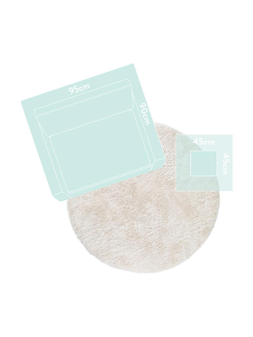 Tappeto a pelo lungo effetto lucido Lea, Retro: 100% juta, Bianco, Ø 200 cm (taglia L)