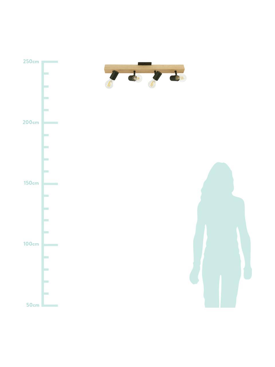 Deckenstrahler Townshend aus Holz, Baldachin: Holz, Schwarz, Holz, 63 x 13 cm