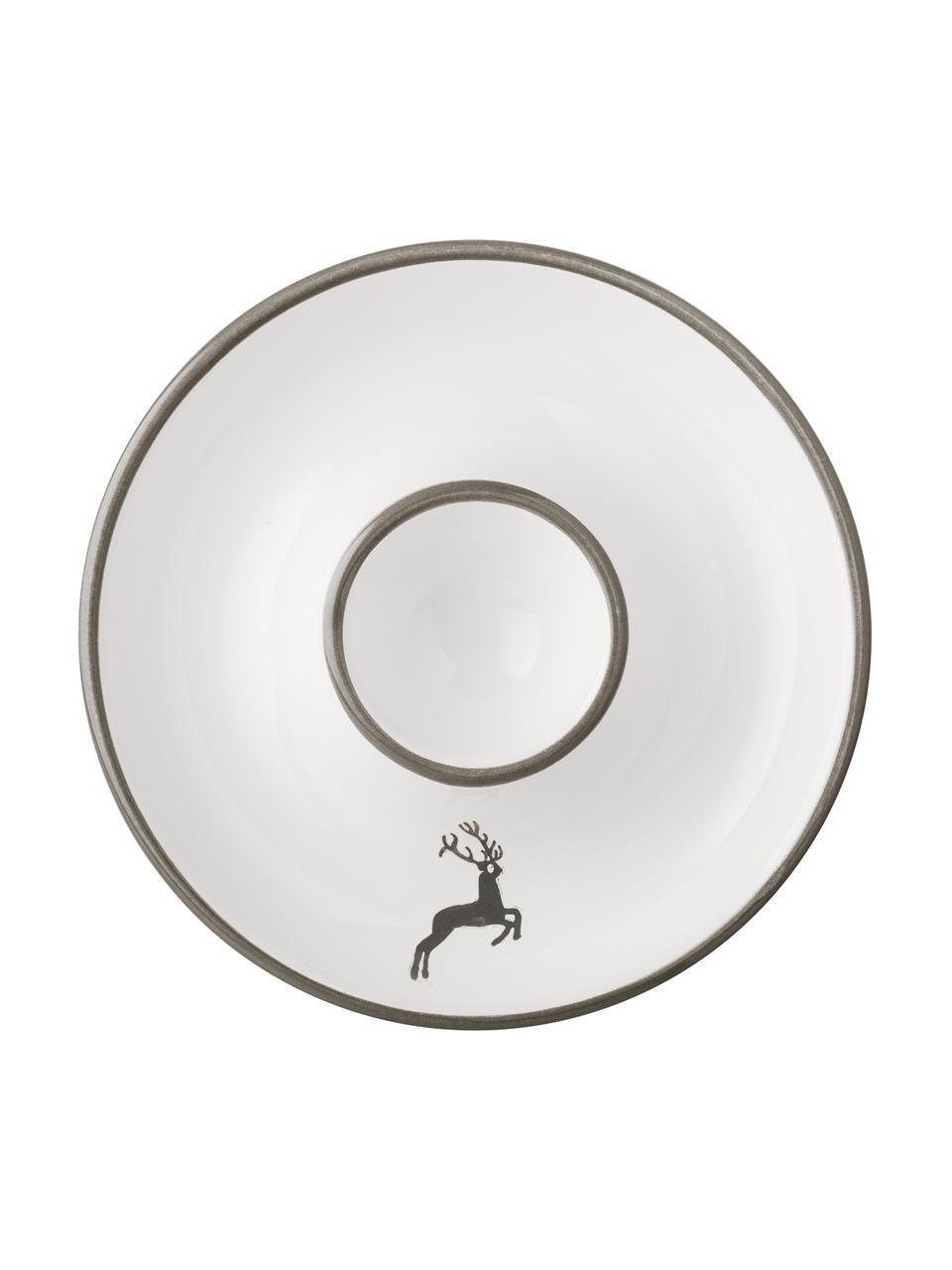 Handbeschilderd eierdopje Classic Grey Deer, Keramiek, Grijs, wit, Ø 12 cm