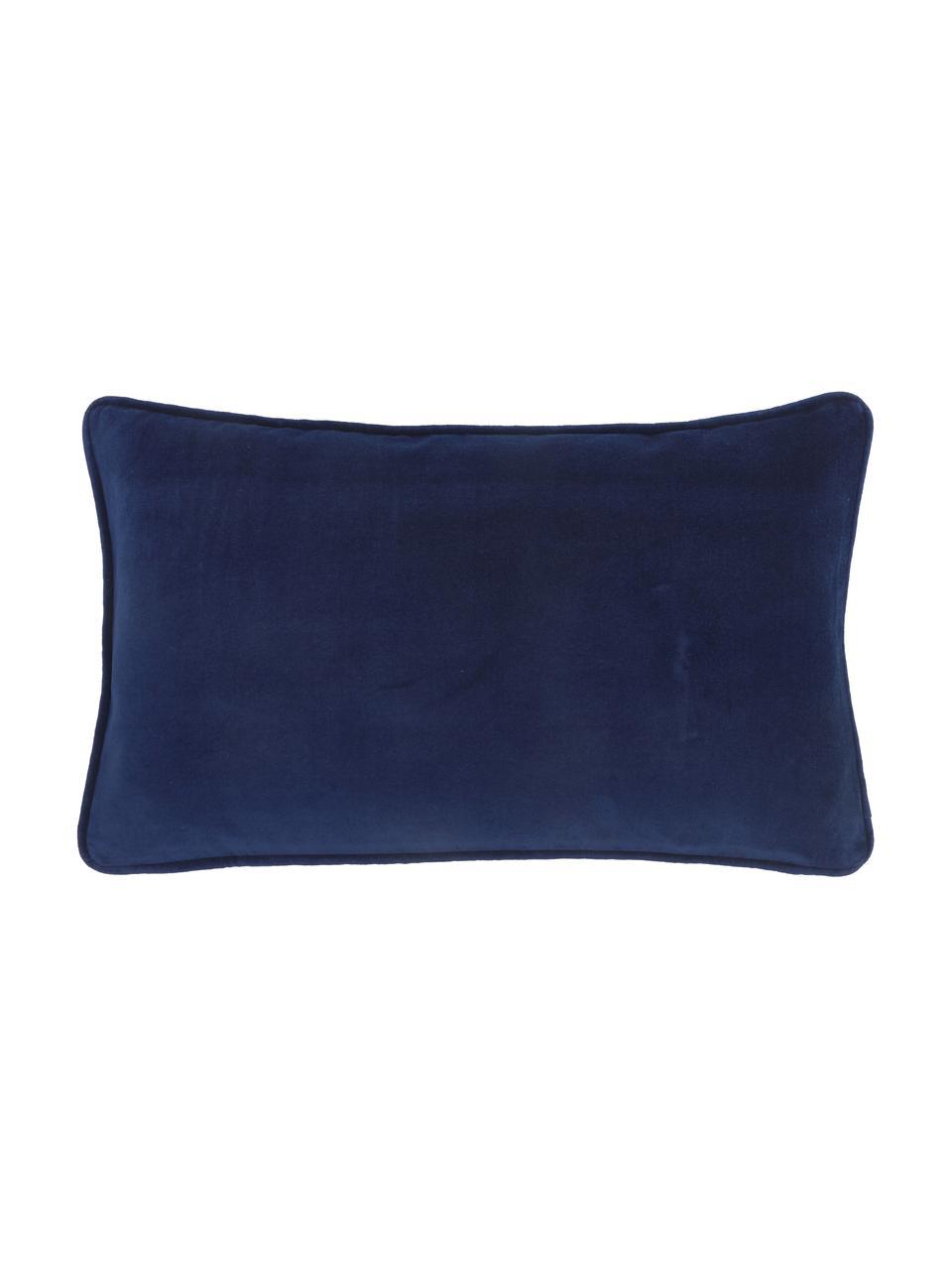 Effen fluwelen kussenhoes Dana in marineblauw, 100% katoenfluweel, Marineblauw, 30 x 50 cm