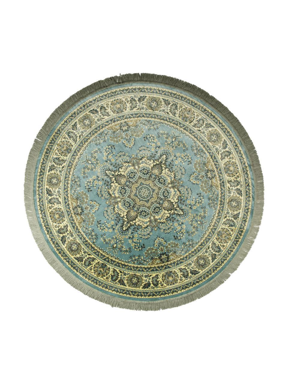 Runder Vintage-Teppich Bodega in Grün mit Fransen, Flor: 38%Rayon, 26%Baumwolle,, Grüntöne, Ø 175 cm (Grösse L)