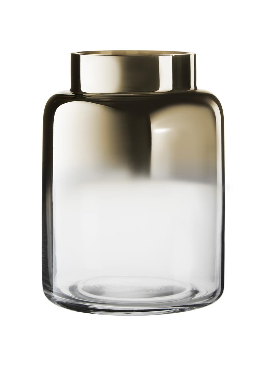 Mundgeblasene Vase Uma, Glas, Transparent,Gold, Ø 15 x H 20 cm