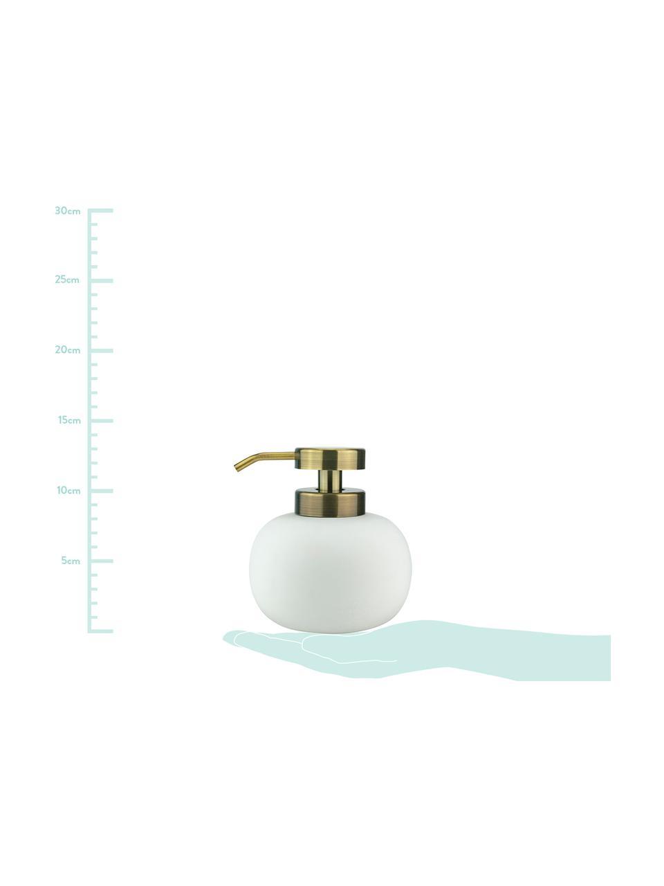 Dosatore di sapone Lotus, Contenitore: ceramica, Testa della pompa: metallo, rivestito, Bianco, ottone, Ø 11 x A 13 cm