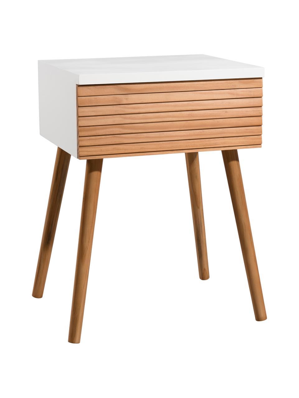 Skandi Nachttisch Pedro mit Schublade, Korpus: Mitteldichte Holzfaserpla, Weiß, Kiefernholz, 40 x 56 cm