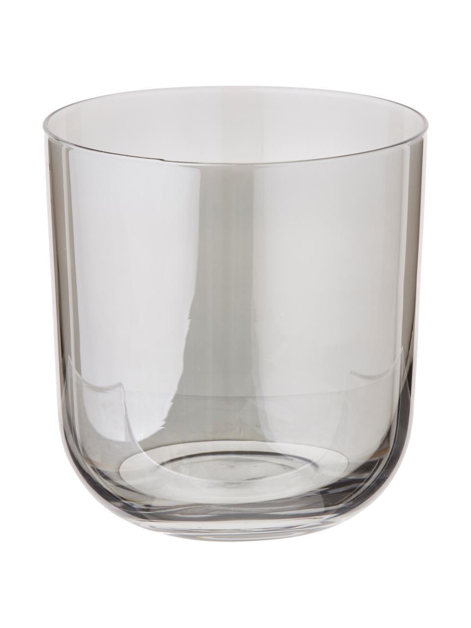 Set 4 bicchieri acqua dipinti a mano Polka, Vetro, Giallo, bordeaux, grigio, marrone, Ø 9 x Alt. 9 cm