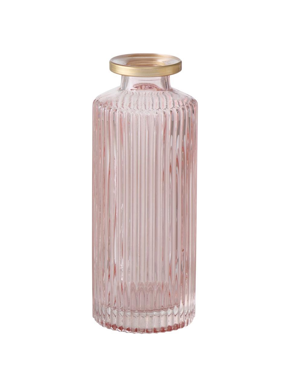 Kleines Vasen-Set Adore aus Glas, 3-tlg., Glas, gefärbt, Rosa, Ø 5 x H 13 cm