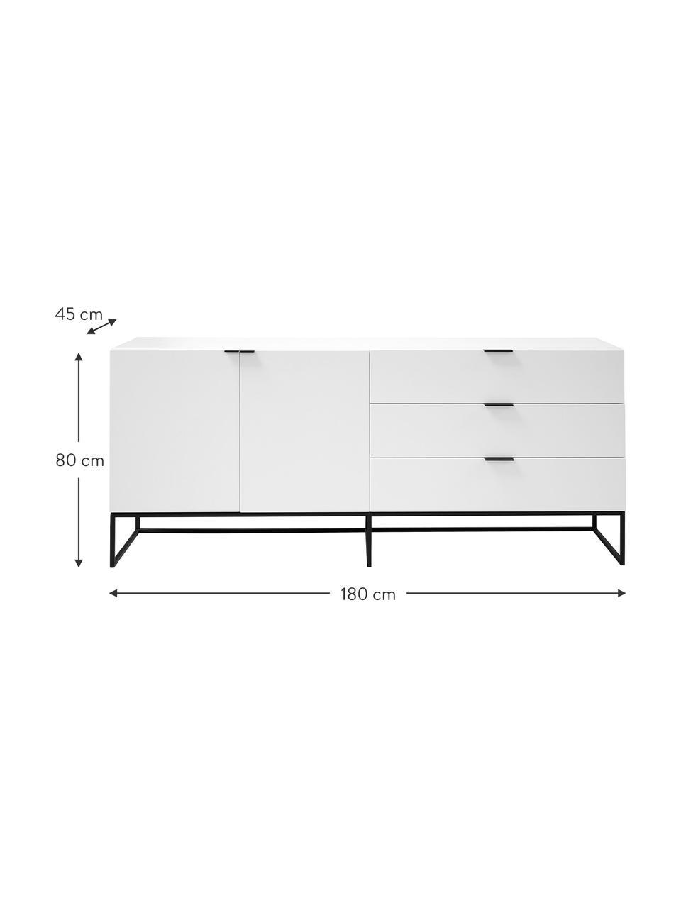 Weißes Sideboard Kobe mit Schubladen, Korpus und Fronten: Weiß, semi-mattFüße und Griffe: Schwarz, 180 x 80 cm