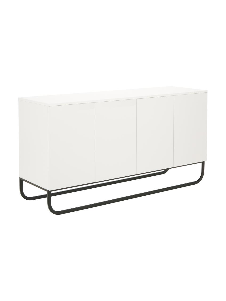 Klassisches Sideboard Sanford mit Türen in Weiß, Korpus: Mitteldichte Holzfaserpla, Fußgestell: Metall, pulverbeschichtet, Weiß, 160 x 83 cm