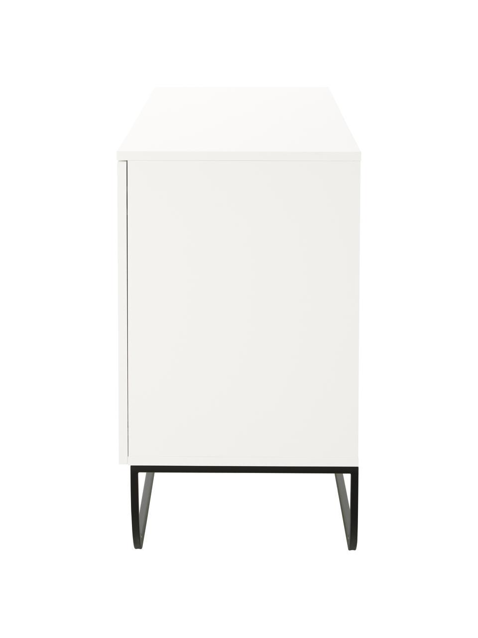 Klassiek dressoir Sanford met deuren in wit, Frame: gelakt MDF, Wit, 160 x 83 cm