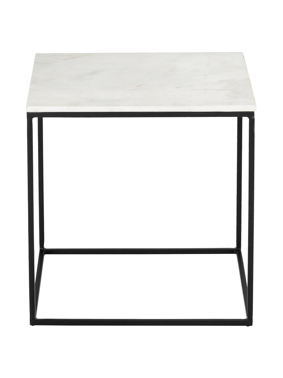 Marmeren bijzettafel Alys, Tafelblad: marmer, Frame: gepoedercoat metaal, Tafelblad: wit-grijs marmer. Frame: mat zwart, 45 x 50 cm
