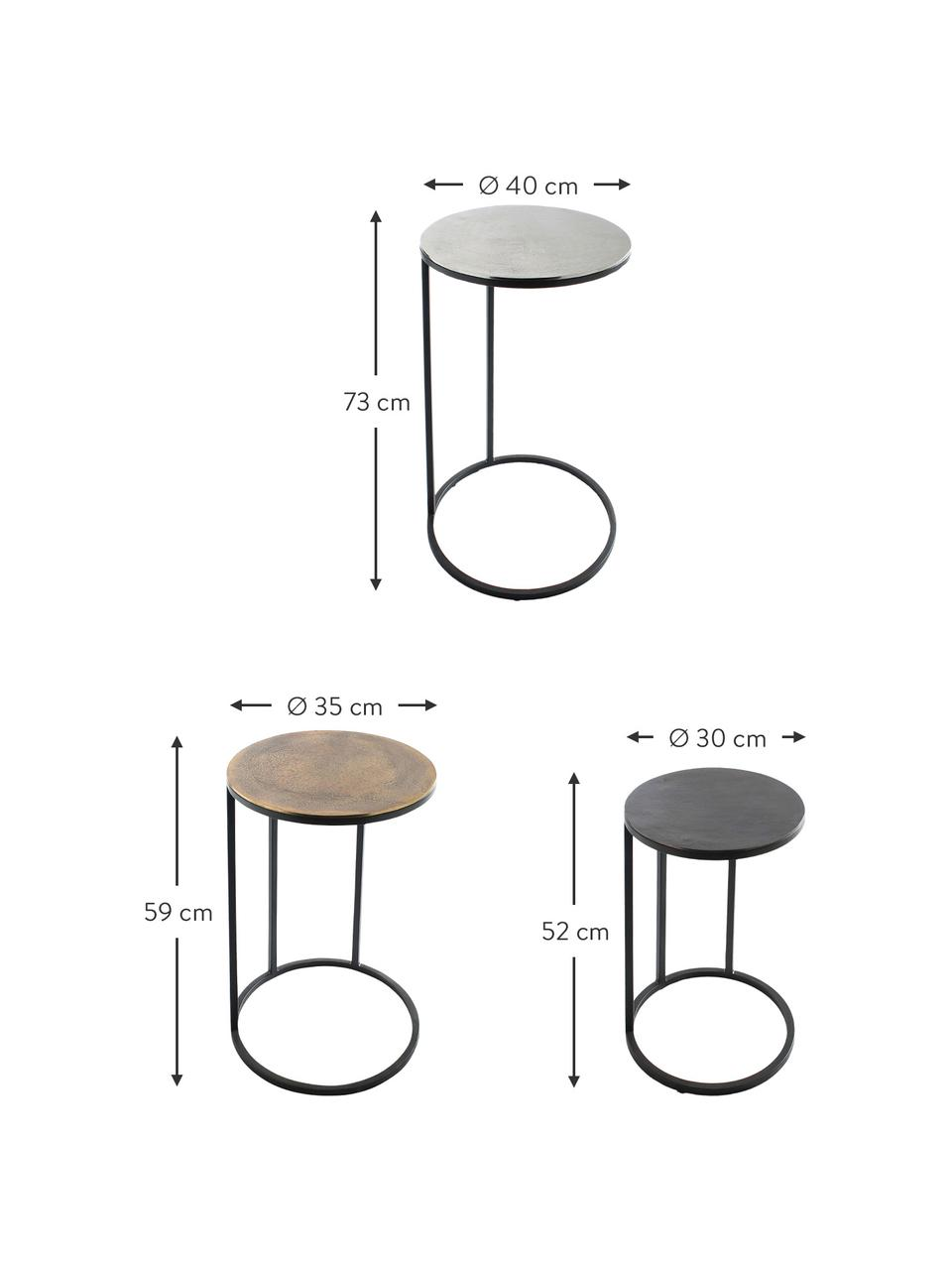 Table d'appoint gigogne métal Calvin, 3élém., Aluminium, laiton