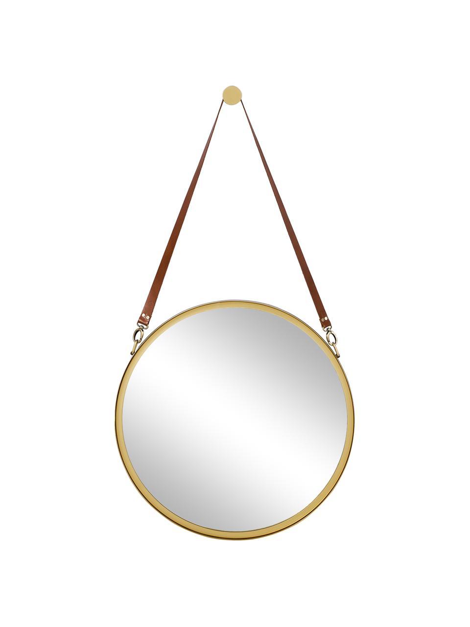 Runder Wandspiegel Liz mit brauner Lederschlaufe, Spiegelfläche: Spiegelglas, Rückseite: Mitteldichte Holzfaserpla, Gold, Ø 55 cm