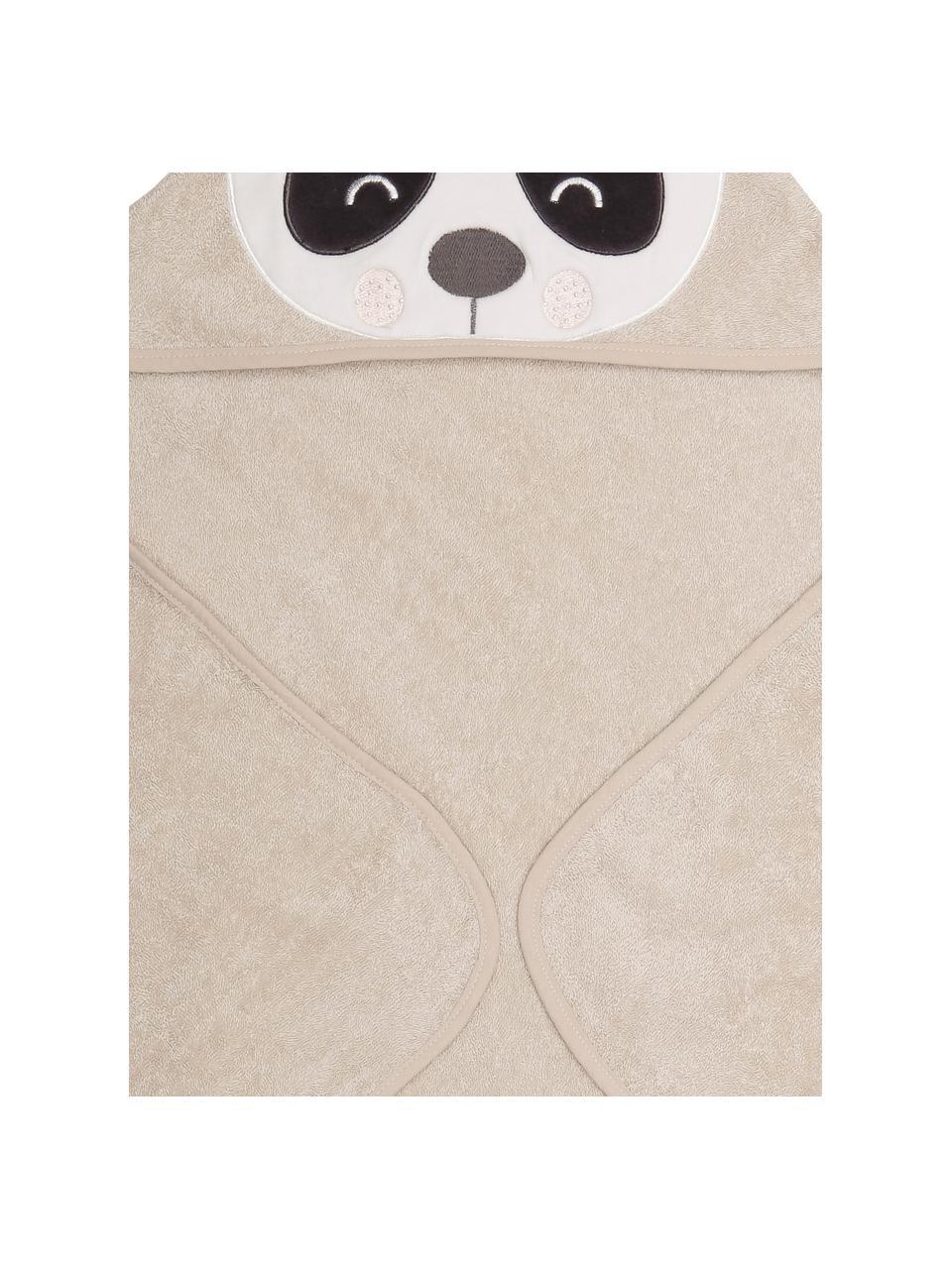 Cape de bain en coton bio Panda Penny, Beige, blanc, gris foncé