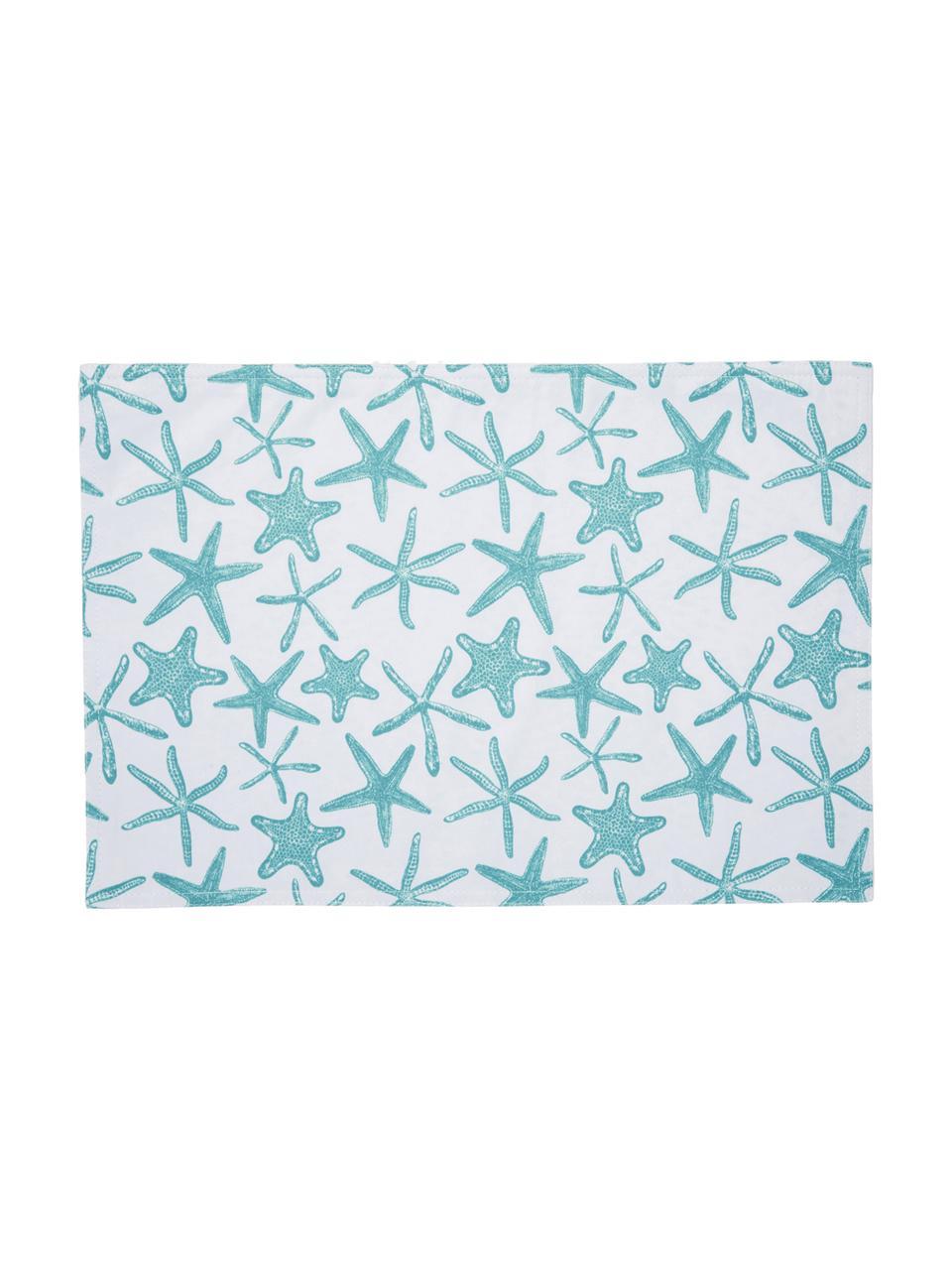 Wasserabweisende Tischsets Starbone, 2 Stück, Polyester, Weiß, Blau, 33 x 48 cm