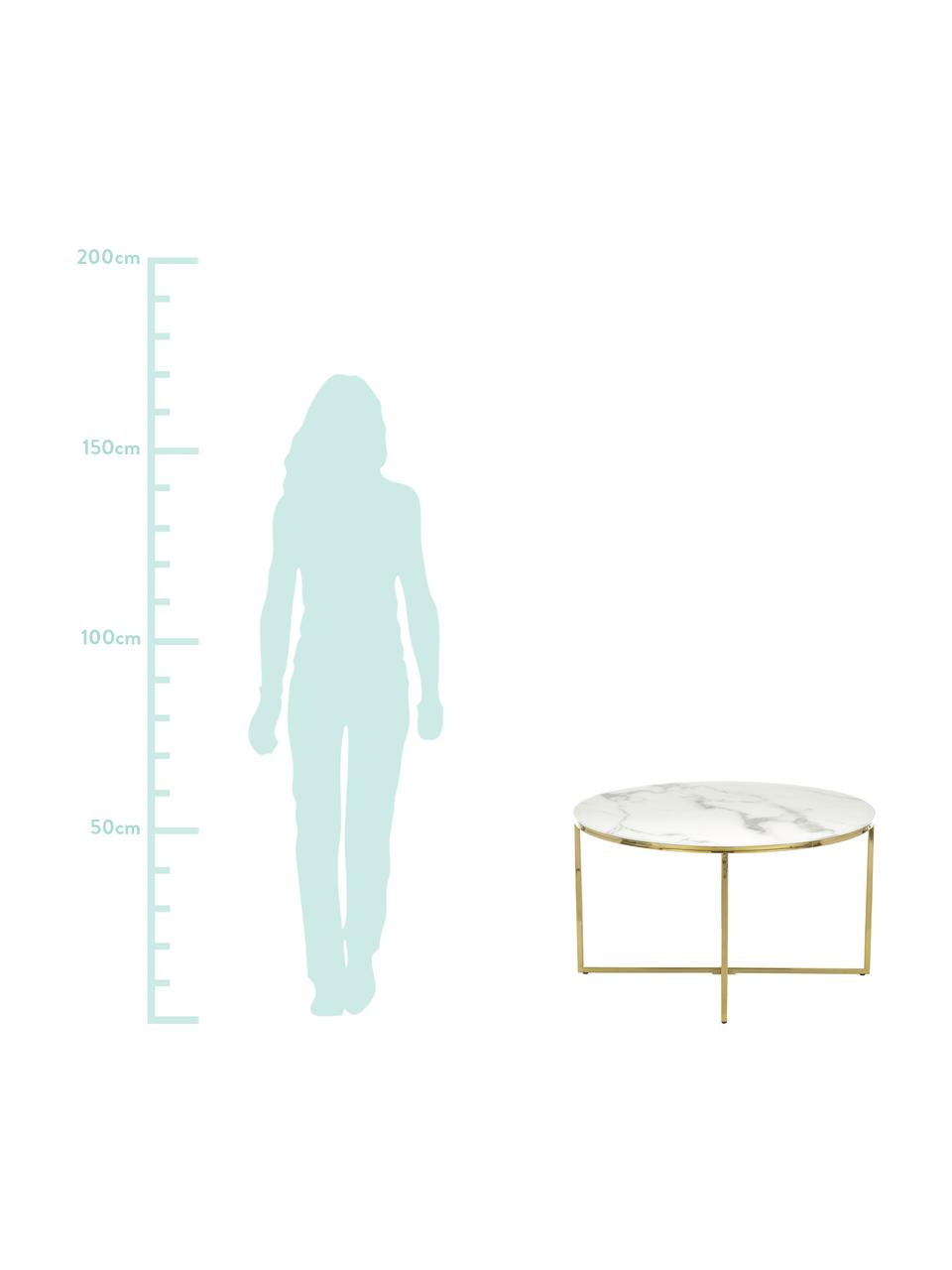 Couchtisch Antigua mit marmorierter Glasplatte, Tischplatte: Glas, matt bedruckt, Gestell: Metall, vermessingt, Tischplatte: Weiss, marmoriert<br>Gestell: Messing, Ø 80 x H 45 cm