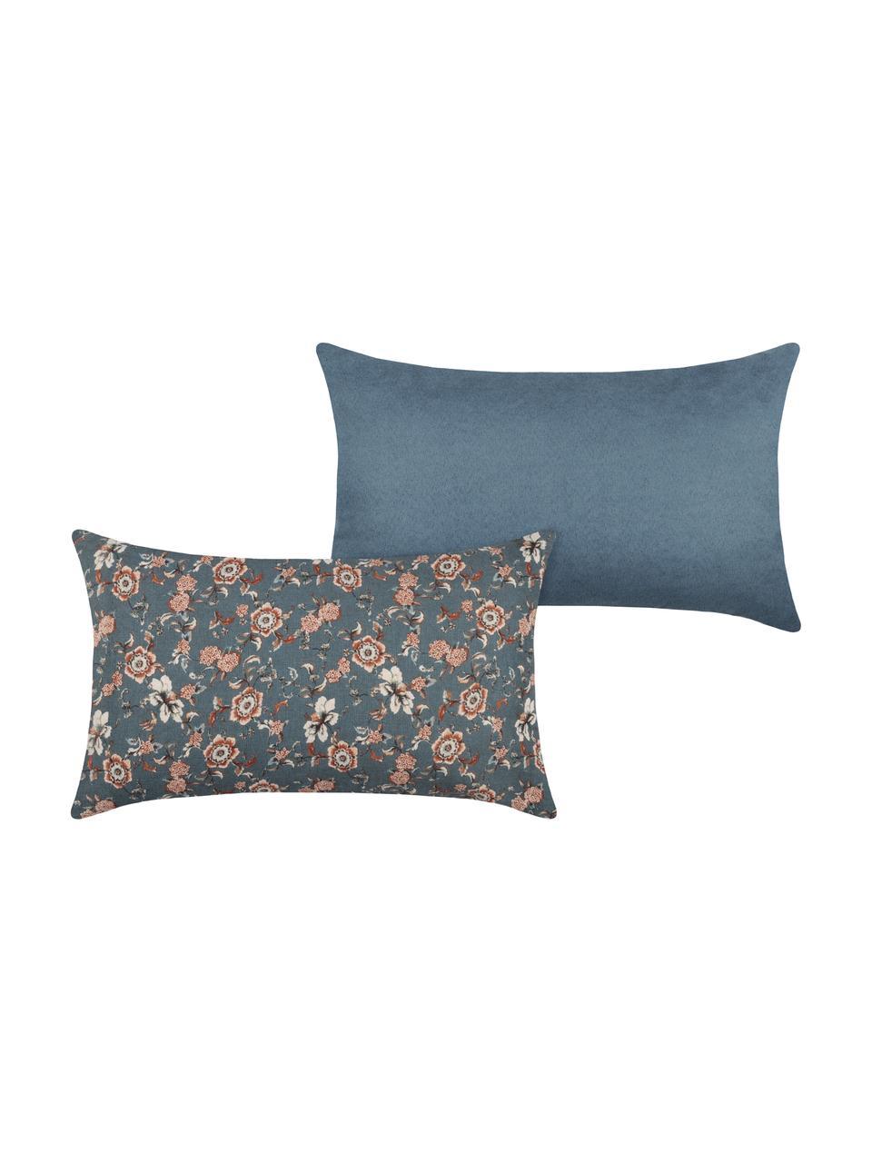Cuscino con imbottitura Boudoir, Rivestimento: 50% cotone, 15% lana, 35%, Blu, beige, rosso, Larg. 30 x Lung. 50 cm