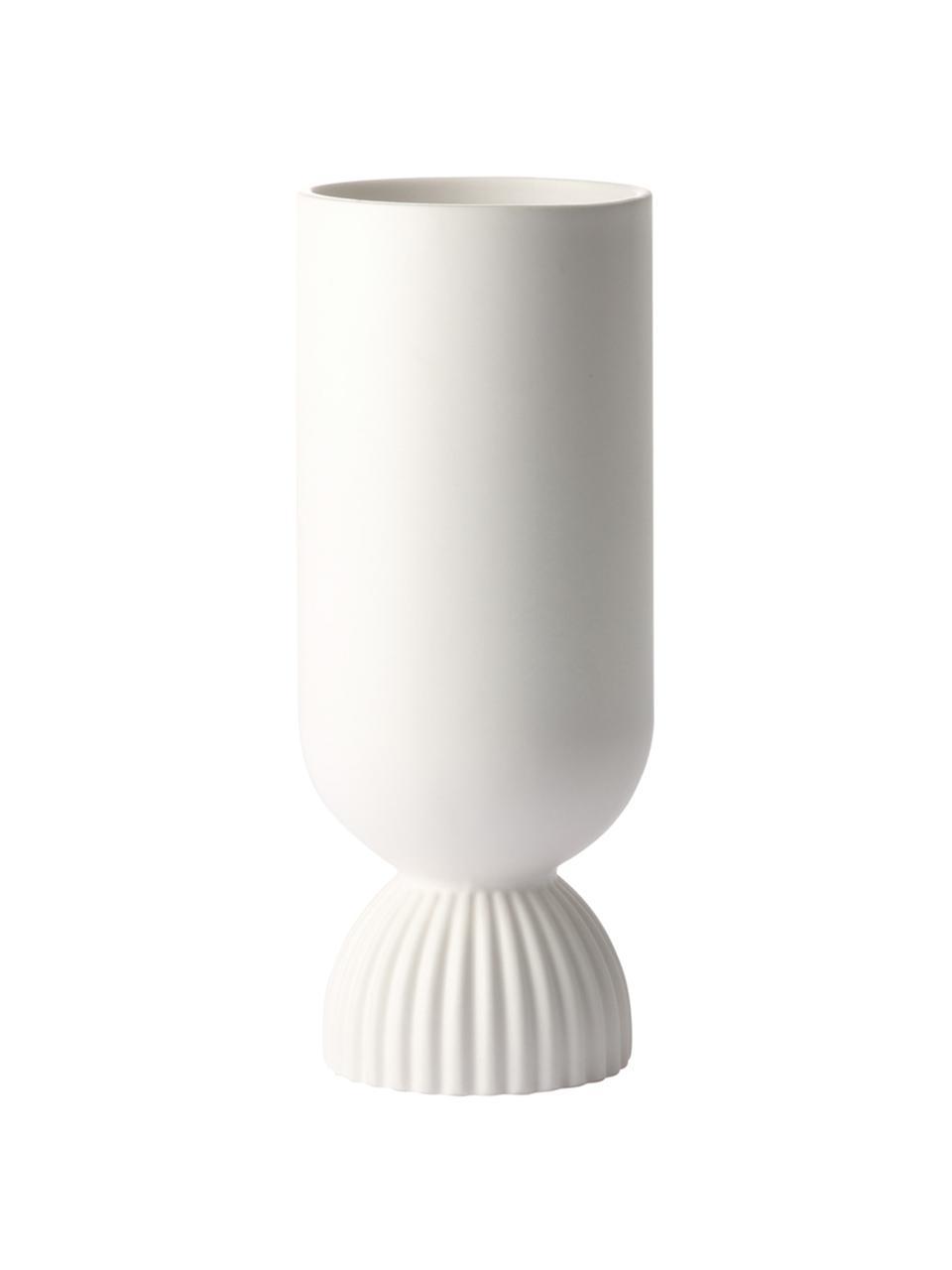 Vase Koralle aus Steingut mit Rippendetail, Steingut, Weiß, matt, Ø 10 x H 25 cm
