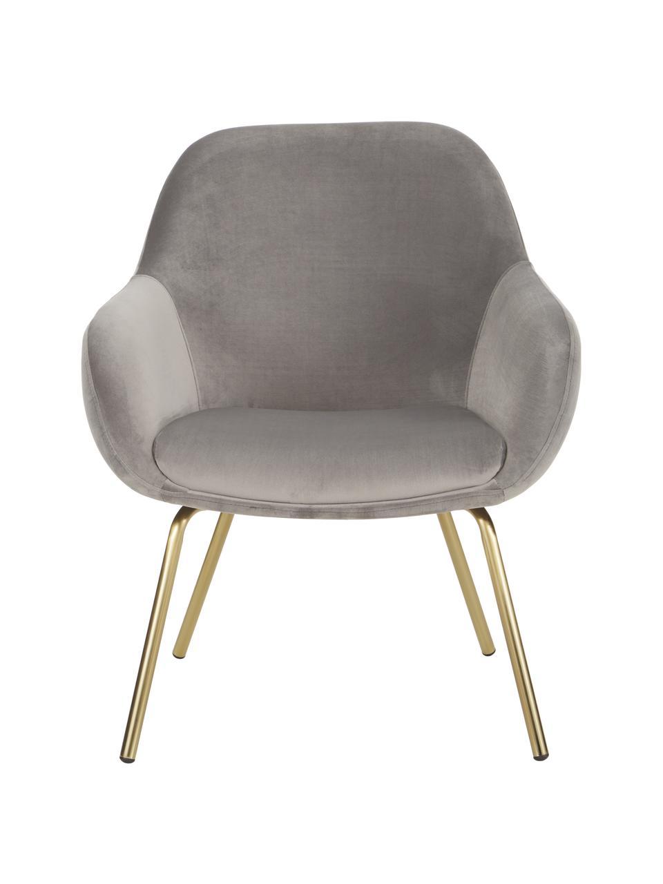 Fluwelen fauteuil Jana, Bekleding: fluweel (polyester), Poten: gelakt metaal, Fluweel grijs, B 72 x D 68 cm