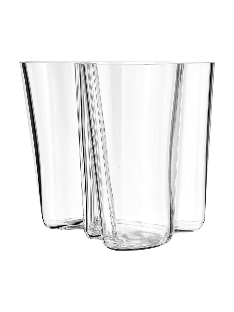Jarrón de diseño Alvar Aalto, Vidrio, Transparente, Al 16 cm