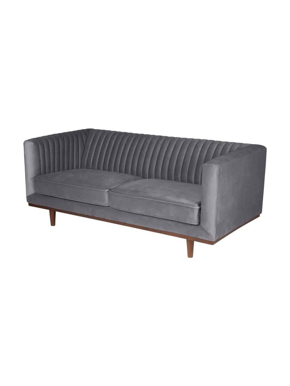 Samt-Sofa Dante (2-Sitzer) in Dunkelgrau mit Holz-Füßen, Bezug: Polyestersamt 50.000 Sche, Füße: Gummibaumholz, lackiert, Samt Dunkelgrau, B 174 x T 87 cm