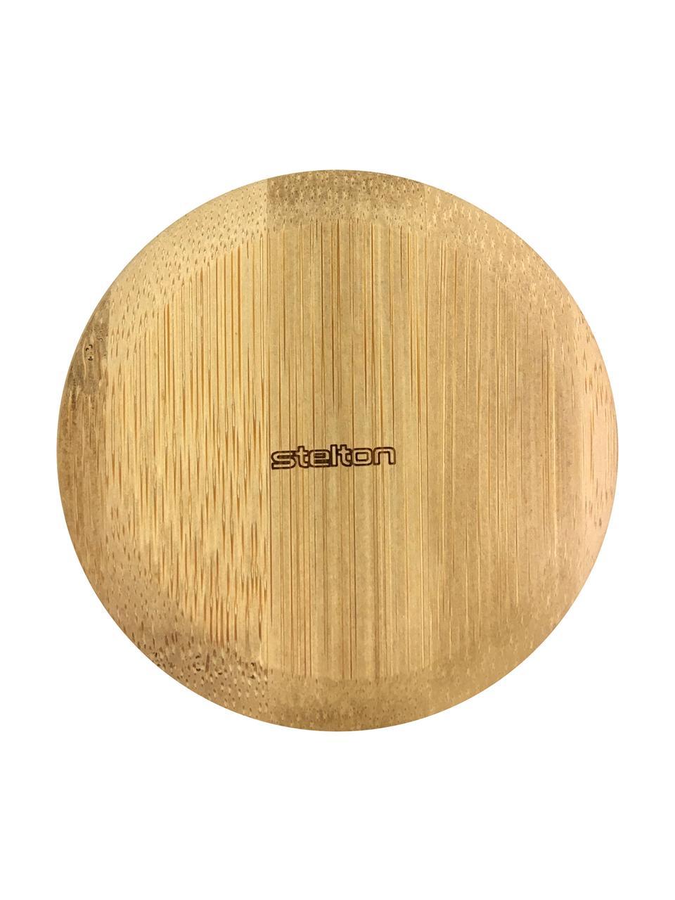 Becher Theo in Weiß mit Deckel/Untersetzer, Becher: Feinsteinzeug, Deckel: Bambus, Gebrochenes Weiß, Bambus, Ø 8 x H 8 cm