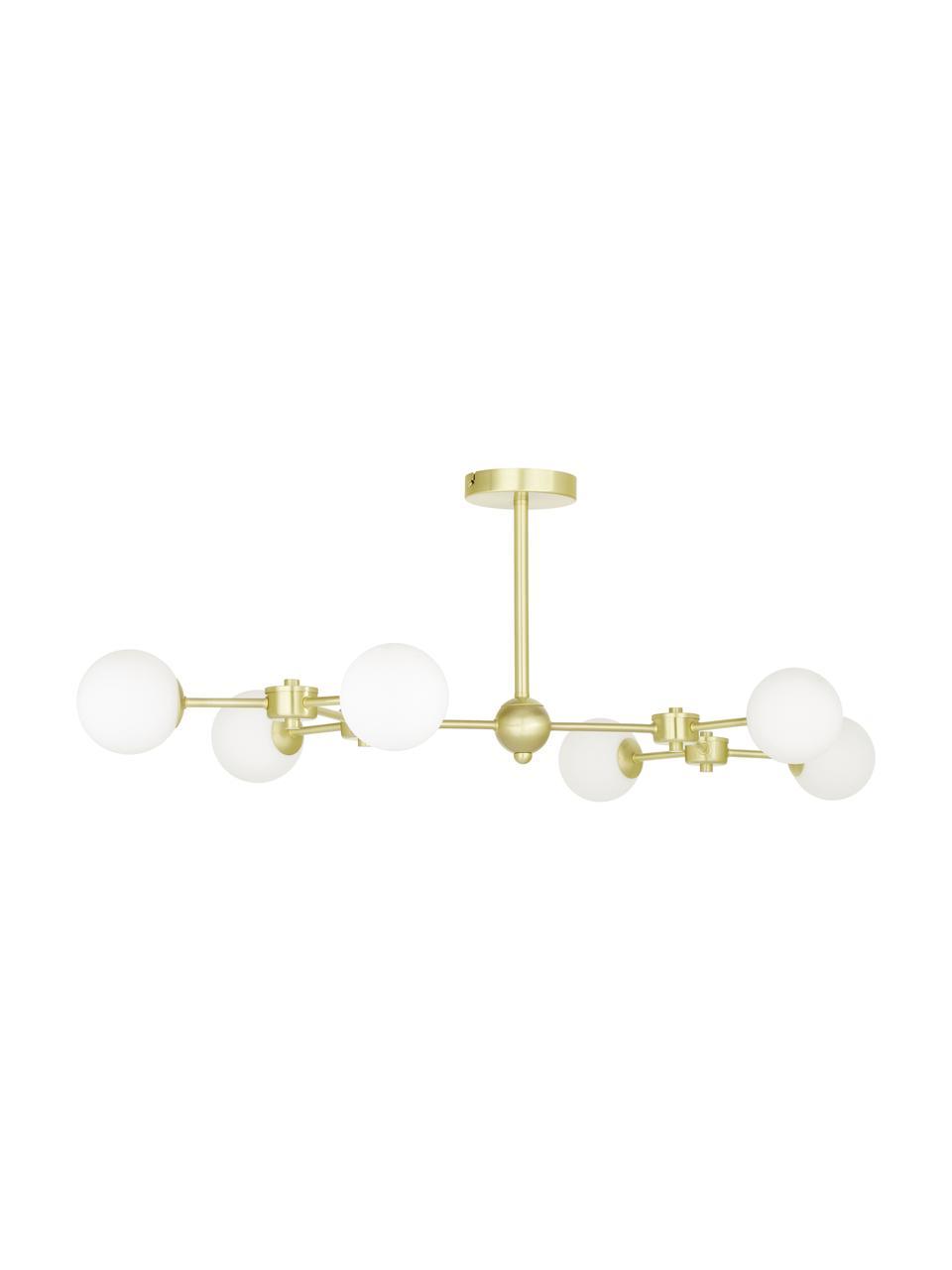 Lampada da soffitto dorata Aurelia, Paralume: vetro, Bianco, ottone, Ø 110 x Alt. 32 cm