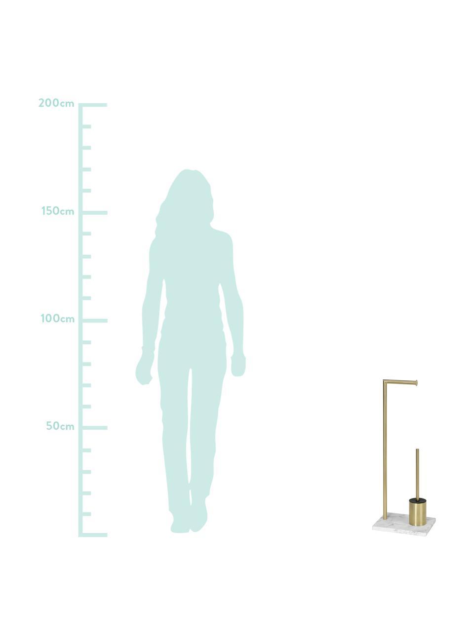 Stojak na papier toaletowy ze szczotką toaletową Albany, Odcienie mosiądzu, biały, S 27 x W 73 cm