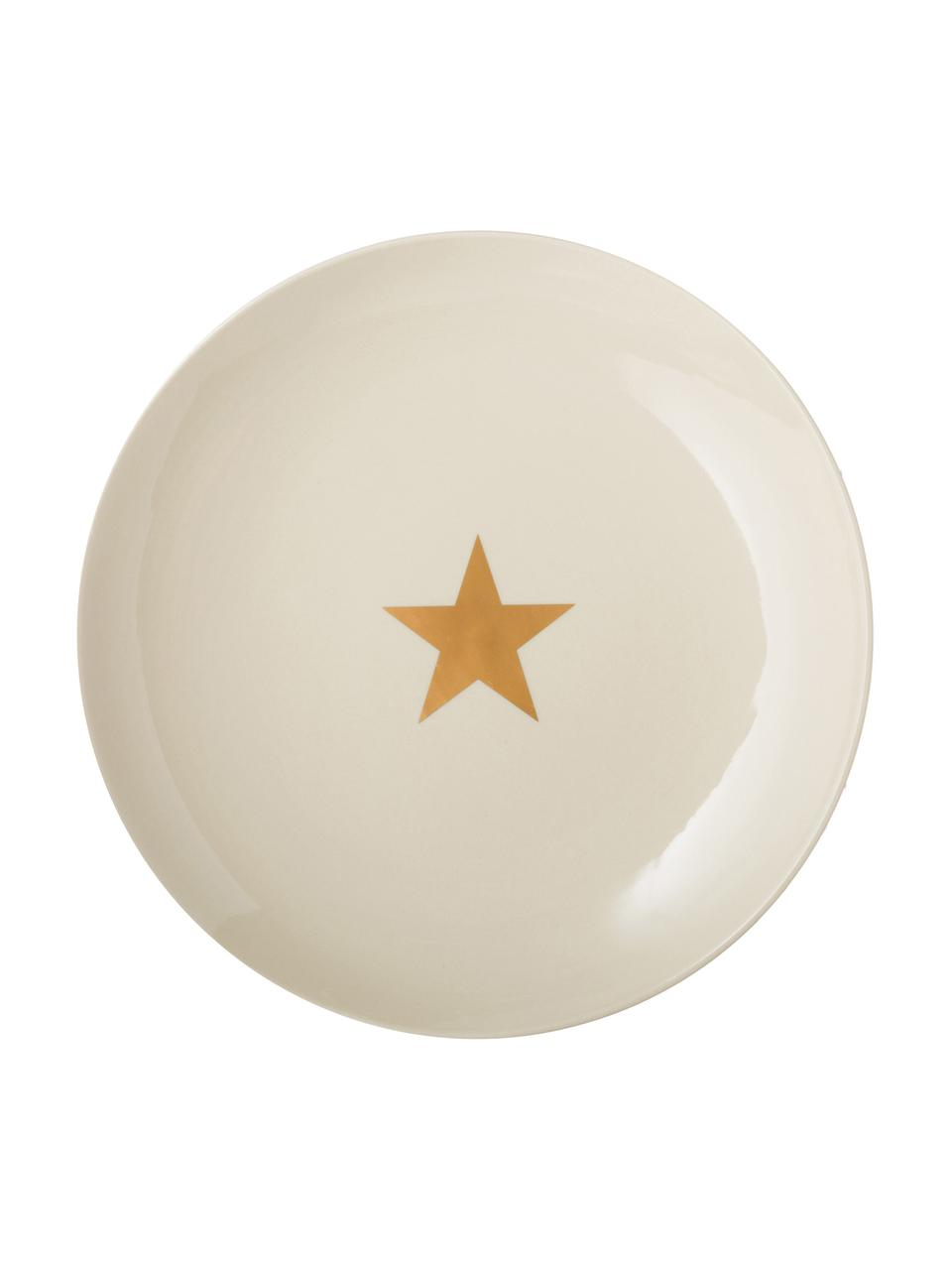 Piatto piano con stella dorata Star, Ceramica, Bianco spezzato, dorato, Ø 25 cm