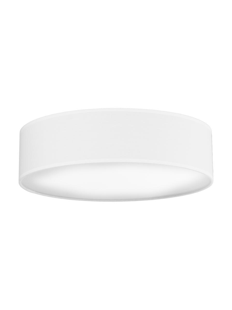 Handgefertigte Deckenleuchte Mika, Lampenschirm: Baumwolle, Diffusorscheibe: Kunststoff, Weiß, Ø 40 x H 10 cm