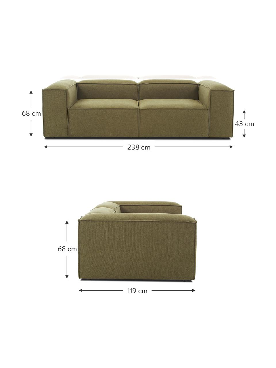Modulaire bank Lennon (3-zits) in groen, Bekleding: polyester De hoogwaardige, Frame: massief grenenhout, multi, Poten: kunststof, Geweven stof groen, B 238 x D 119 cm