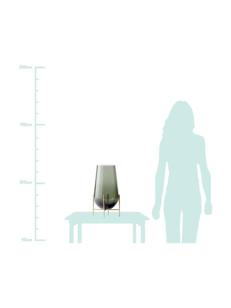 Große Design-Vase Échasse, Gestell: Messing, Vase: Glas, mundgeblasen, Messingfarben, Ø 15 x H 45 cm