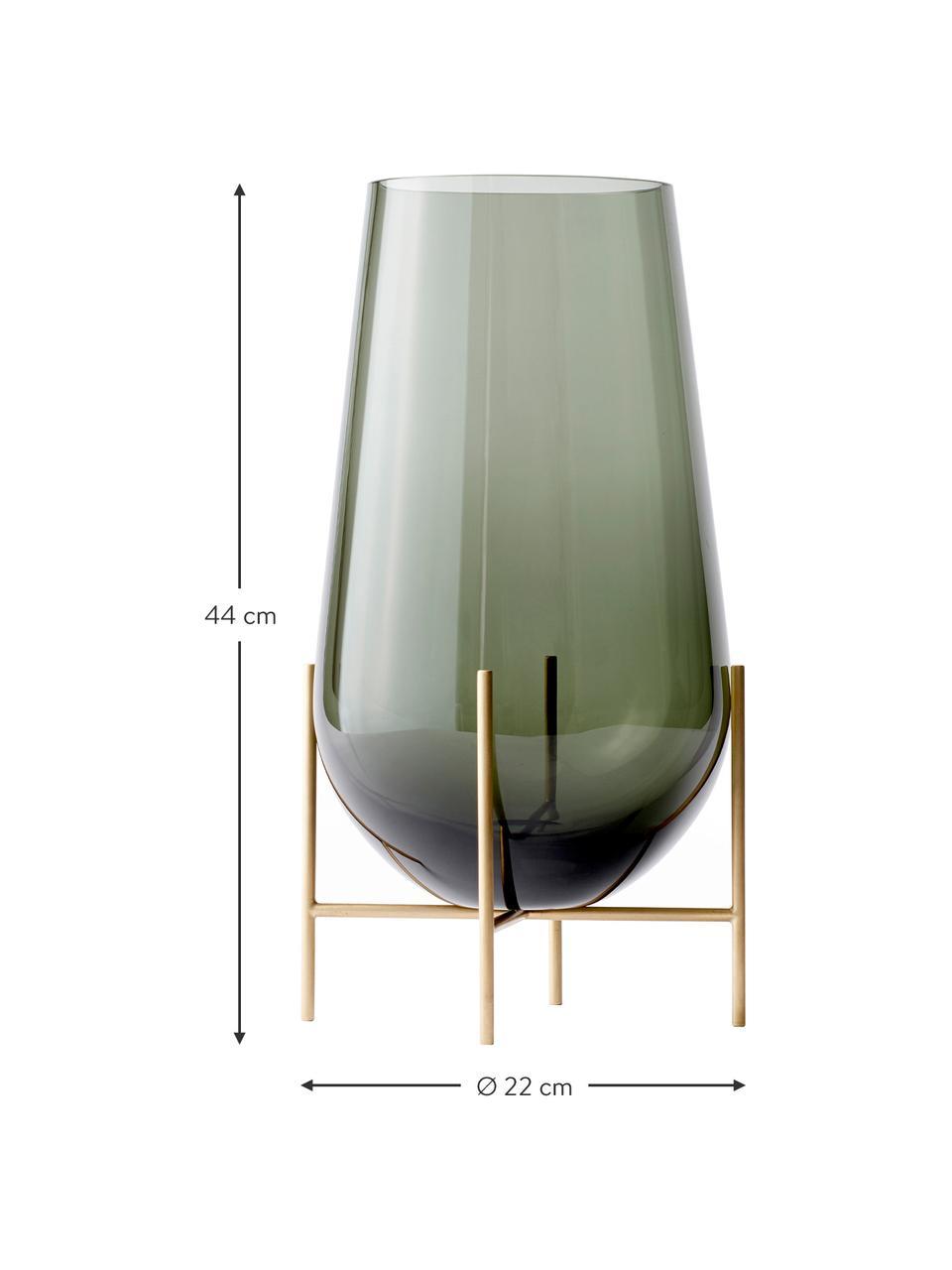 Große Design-Vase Échasse, Gestell: Messing, Vase: Glas, mundgeblasen, Messingfarben, Grau, Ø 22 x H 44 cm