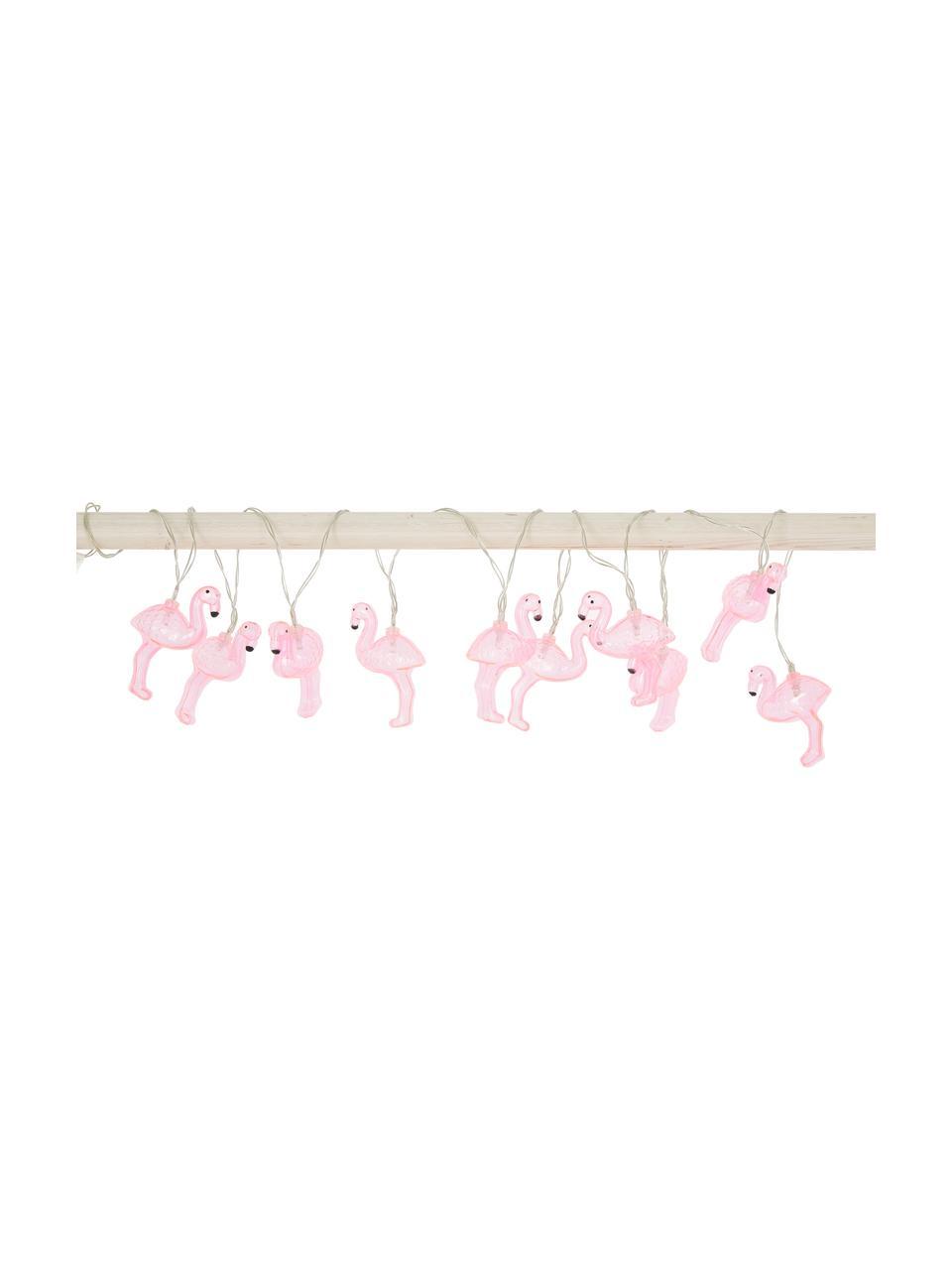 LED-Lichterkette Flamingo, 230 cm, Kunststoff, Pink, L 230 cm