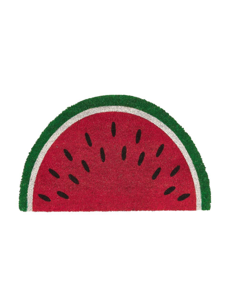 Zerbino in cocco a forma di anguria Watermelon, Retro: materiale sintetico (PVC), Rosso, verde, bianco, nero, Larg. 43 x Lung. 71 cm