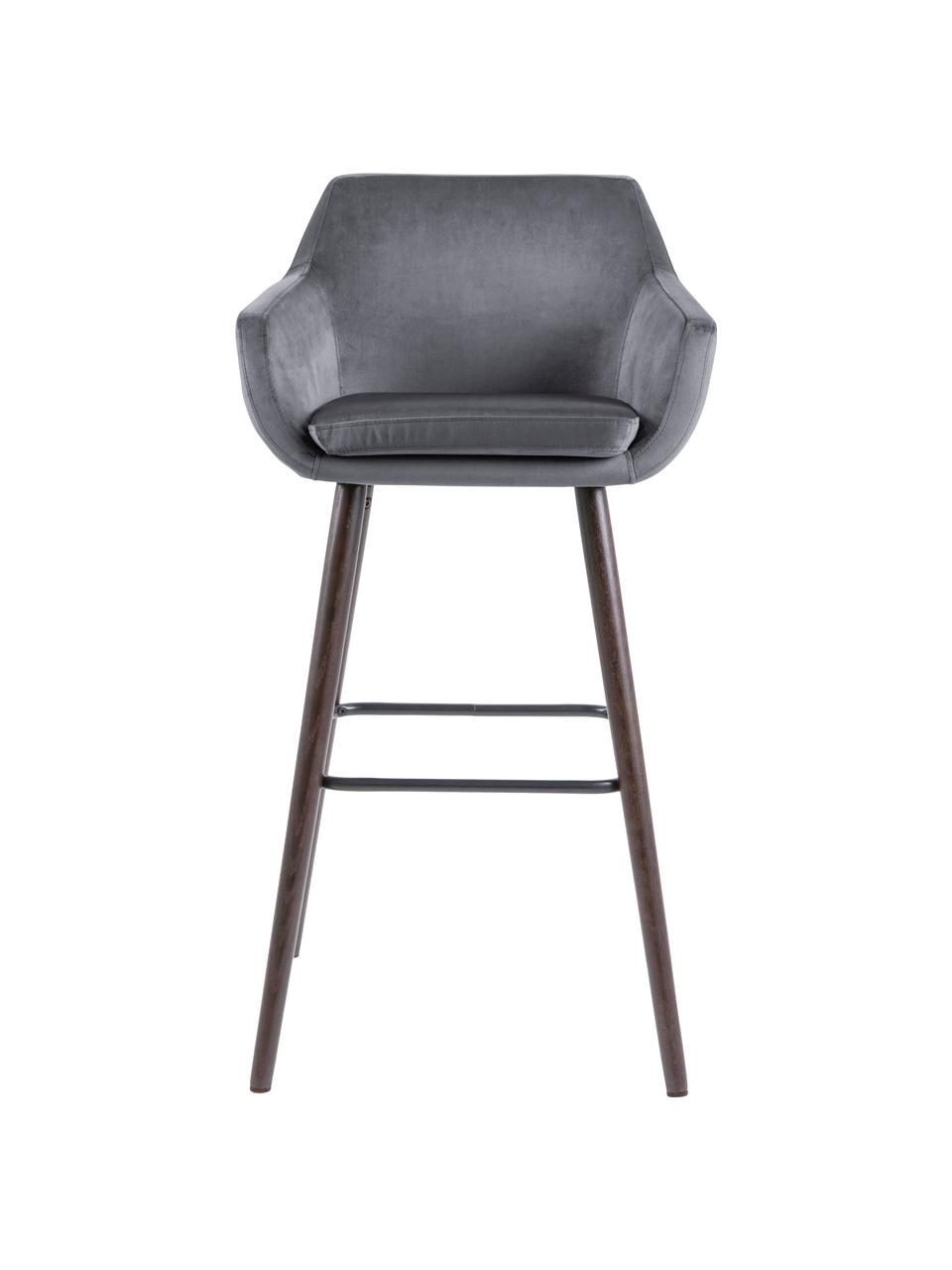 Samt-Barstühle Nora, 2 Stück, Bezug: Polyestersamt 25.000 Sche, Beine: Eichenholz, gebeizt und g, Dunkelgrau, Dunkelbraun, Schwarz, 55 x 101 cm