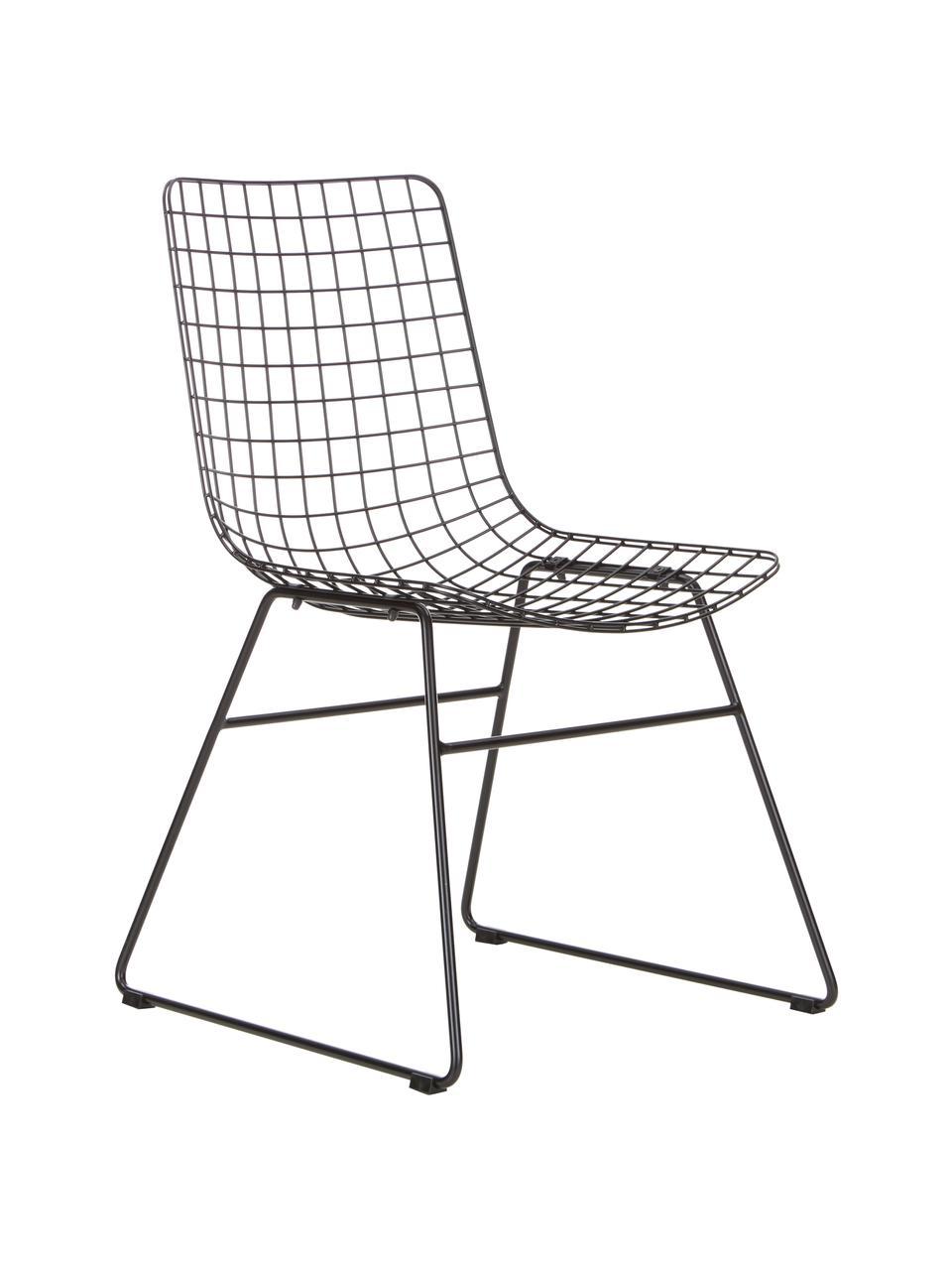 Sedia in metallo nero Wire, Metallo verniciato a polvere, Nero, Larg. 47 x Prof. 54 cm