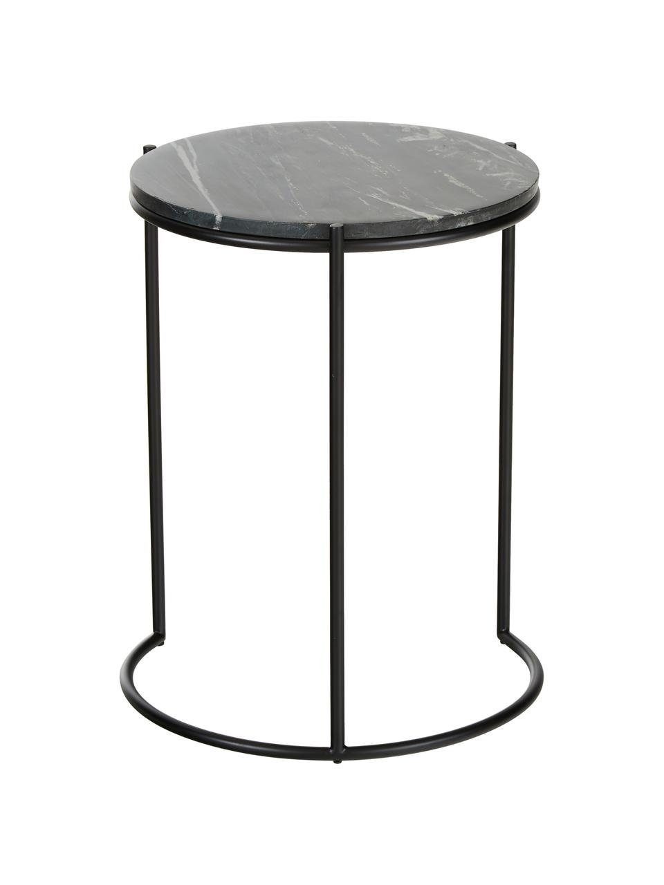 Marmor-Beistelltisch-Set Ella, Tischplatten: Schwarzer Marmor Gestelle: Schwarz, matt, Sondergrößen