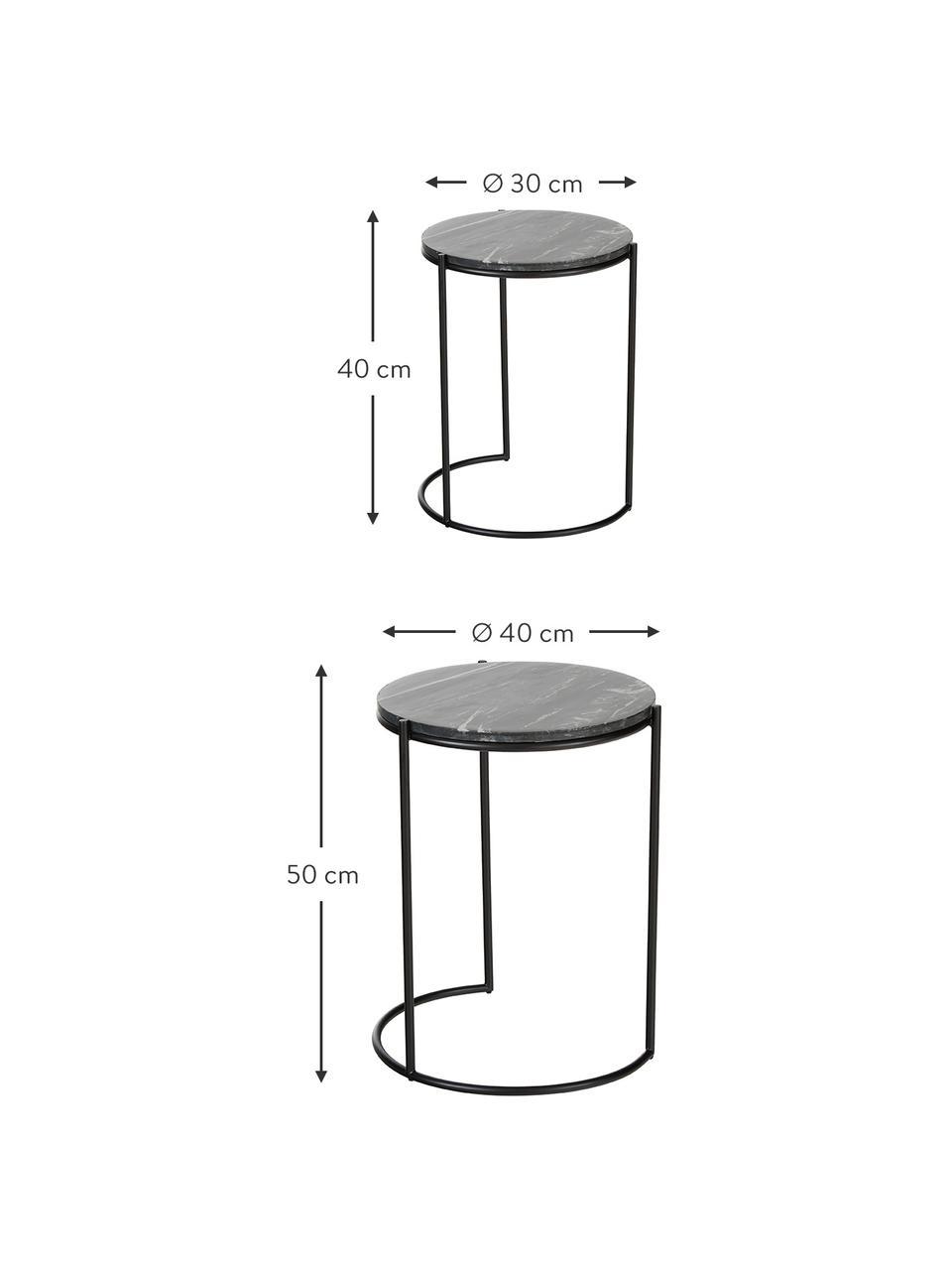 Marmor-Beistelltisch-Set Ella, 2-tlg., Tischplatten: Schwarzer MarmorGestelle: Schwarz, matt, Sondergrößen