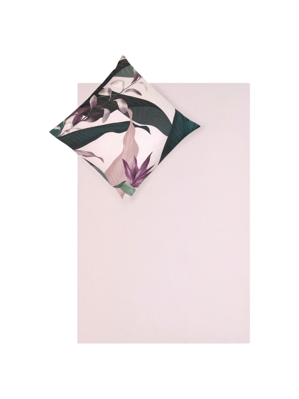 Baumwollsatin-Bettwäsche Flora in Altrosa, Webart: Satin Fadendichte 210 TC,, Vorderseite: MehrfarbigRückseite: Altrosa, 135 x 200 cm + 1 Kissen 80 x 80 cm