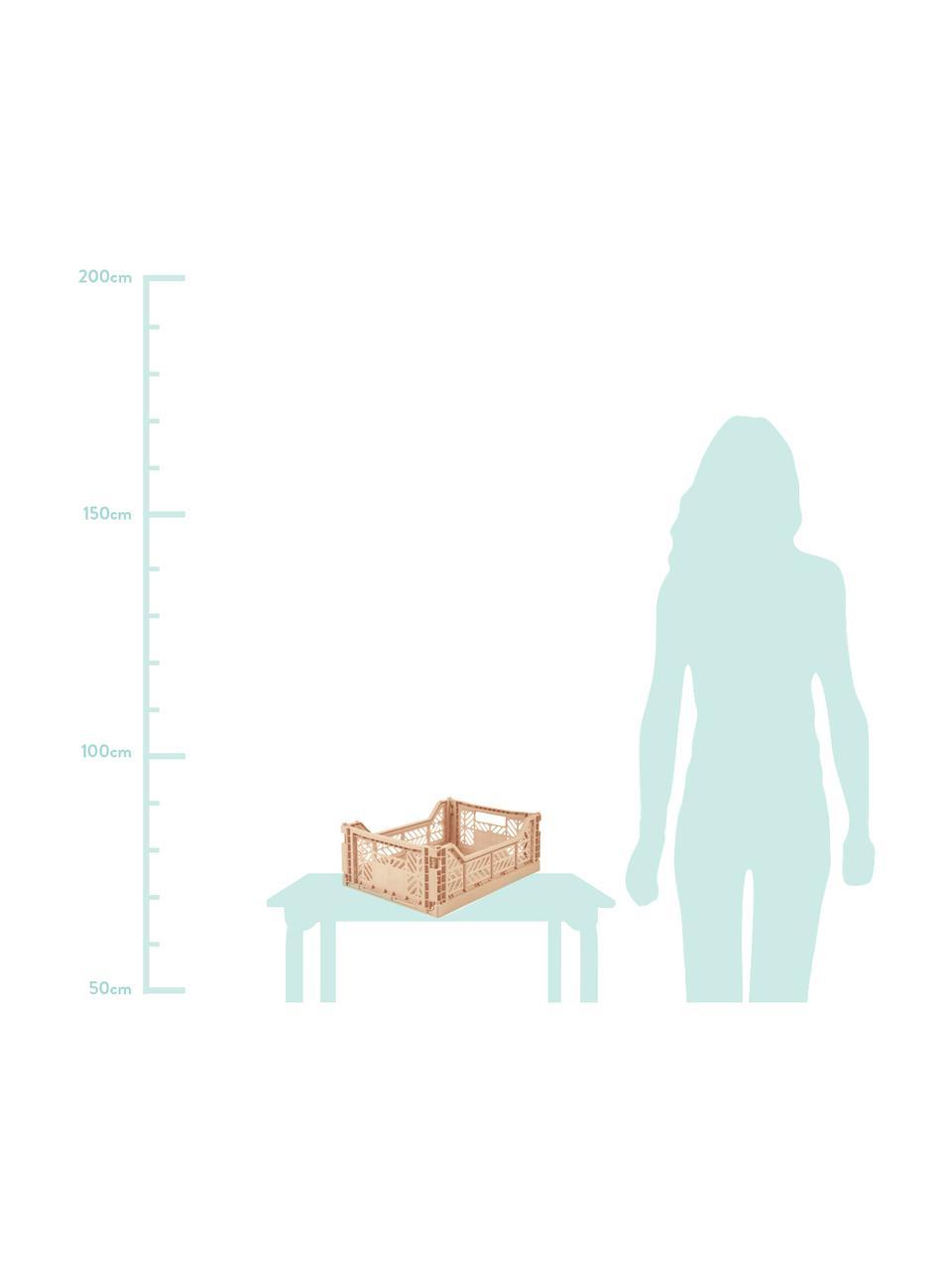 Klappkiste Milk Tea, stapelbar, medium, Recycelter Kunststoff, Beige, 40 x 14 cm
