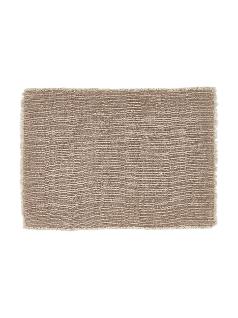 Baumwoll-Tischsets Edge in Beige, 6 Stück, 85% Baumwolle, 15% gemischte Fasern, Beige, 33 x 48 cm