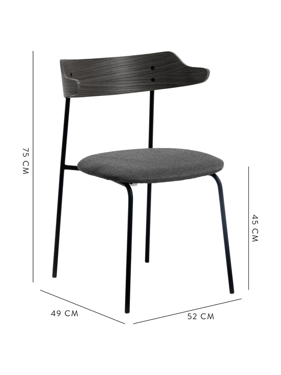 Polsterstühle Olympia mit Rückenlehne aus Holz, 2 Stück, Sitzfläche: Textil, Rückenlehne: Sperrholz mit Eichenfurni, Rahmen: Metall, Schwarz, B 52 x T 49 cm