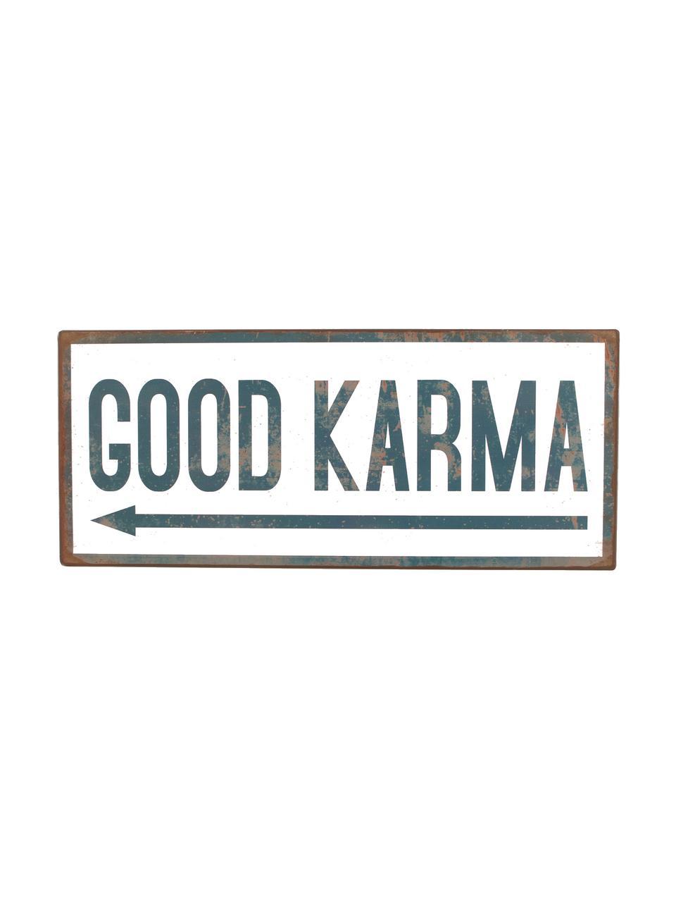 Wandschild Good Karma, Metall, mit Motivfolie beklebt, Weiß, Blau, 31 x 13 cm