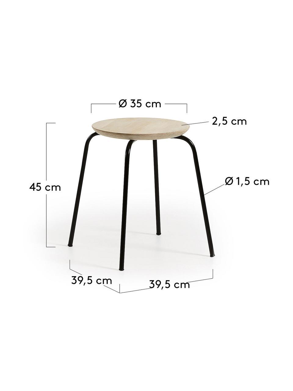 Hocker Ren, stapelbar, Sitzfläche: Mangoholz, naturbelassen, Beine: Metall, lackiert, Mangoholz, Schwarz, Ø 40 x H 45 cm