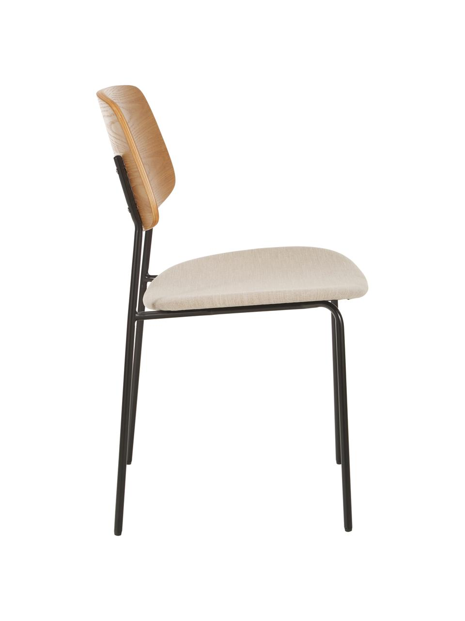 Chaise avec assise rembourrée Nadja, 2pièces, Beige