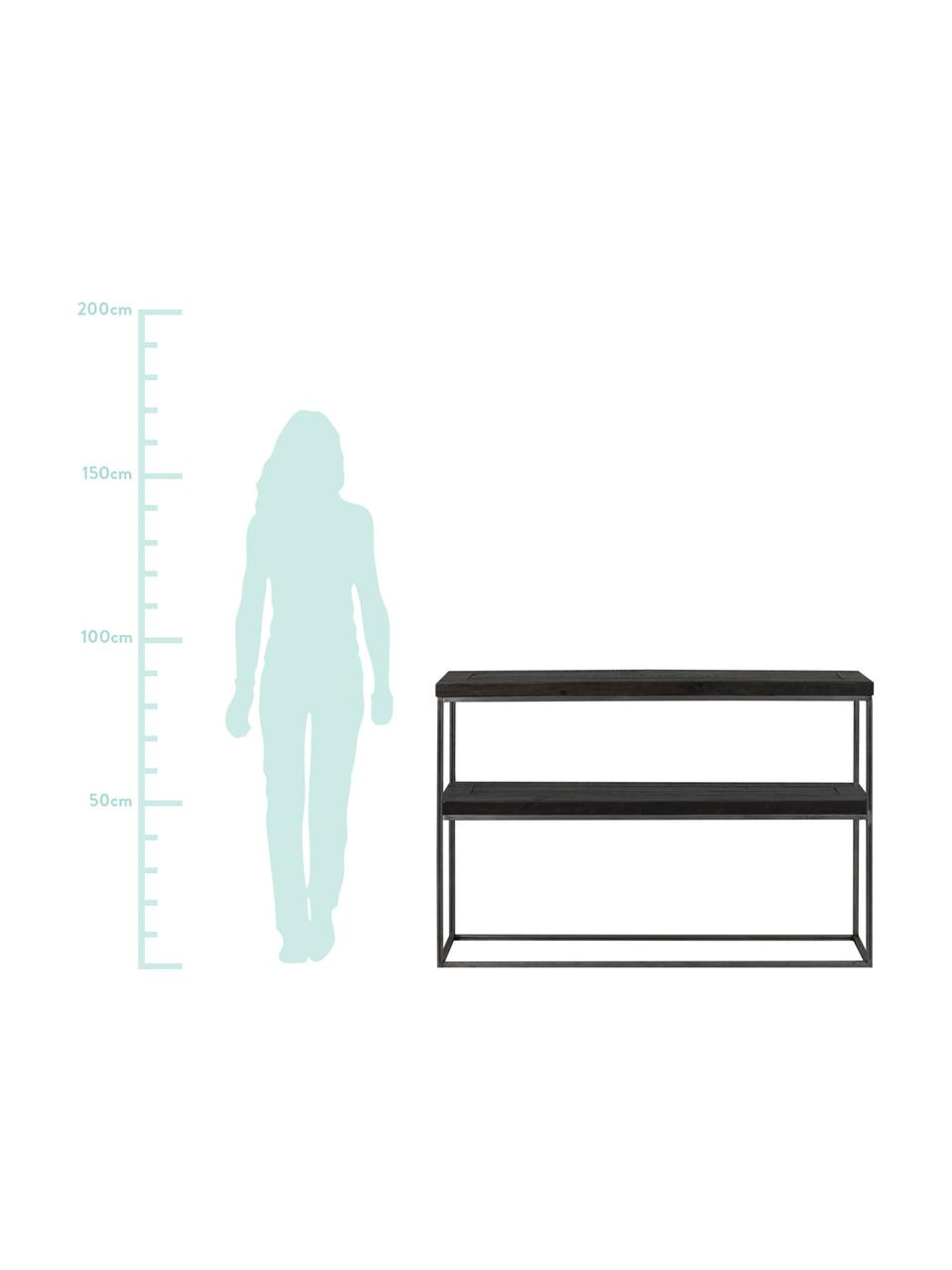 Konsole Dalton im Industrial Design, Gestell: Metall, lackiert, Ablageflächen: Schwarz mit sichtbarer Holzstruktur<br>Gestell: Grau, B 121 x T 31 cm